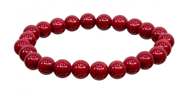 Red Mountain Jade Bracelet - 8 mm stones - elastic band - LIMITED AVAILABILITY - ORDER NOW!